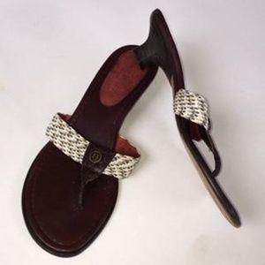 Eric Javits Sandals Thong Logo Italian Size 8